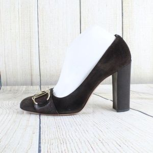 GUCCI Brown Suede Chunky Heel Shoes Size 10 B